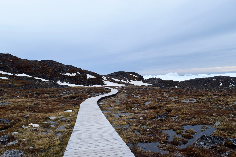 The boardwalk to the UNESCO-protected ice fiord in Ilulissat.