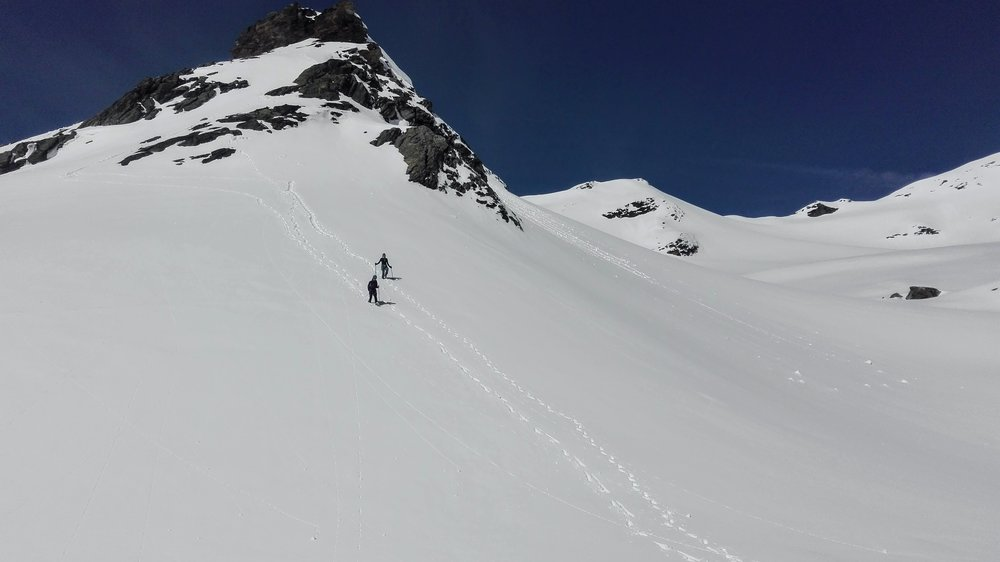 Following our earlier tracks back down to the hut for lunch.  Photo by Maarten Camerlynck .