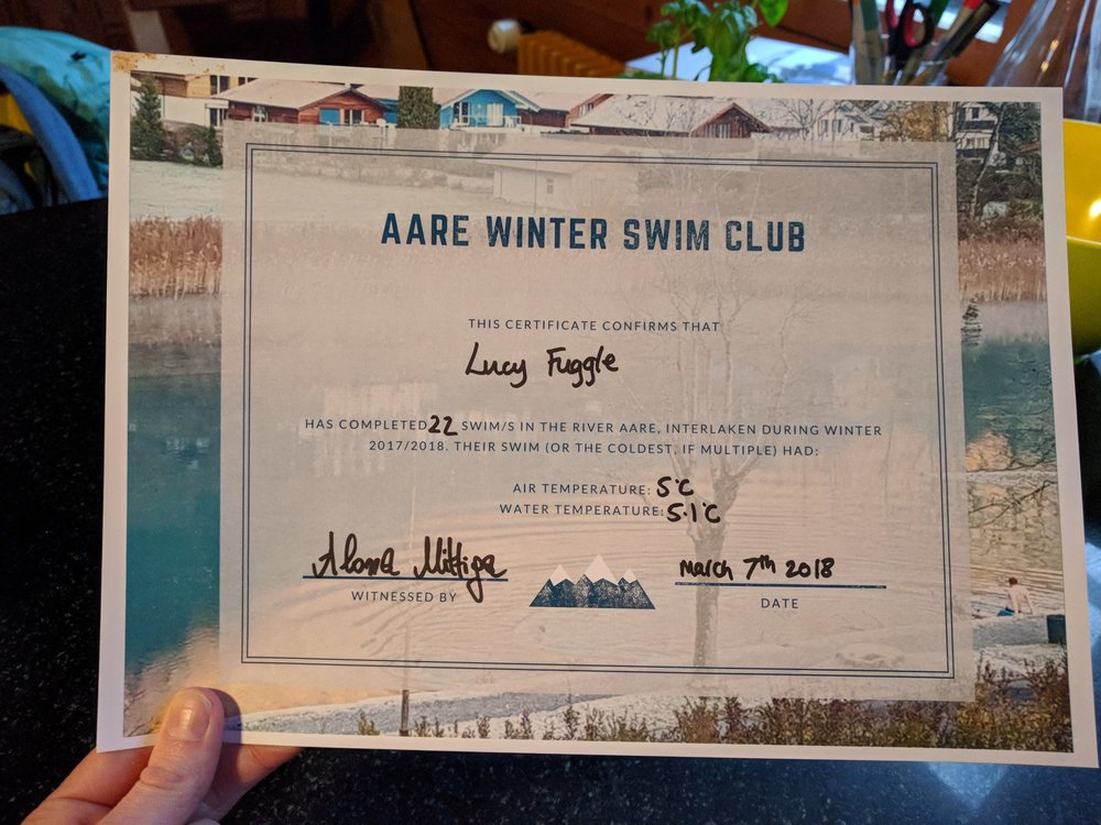 I created certificates, of course (and got a friend to sign my own). The temperature listed is for the  coldest swim by water temperature ... we had a few below zero!