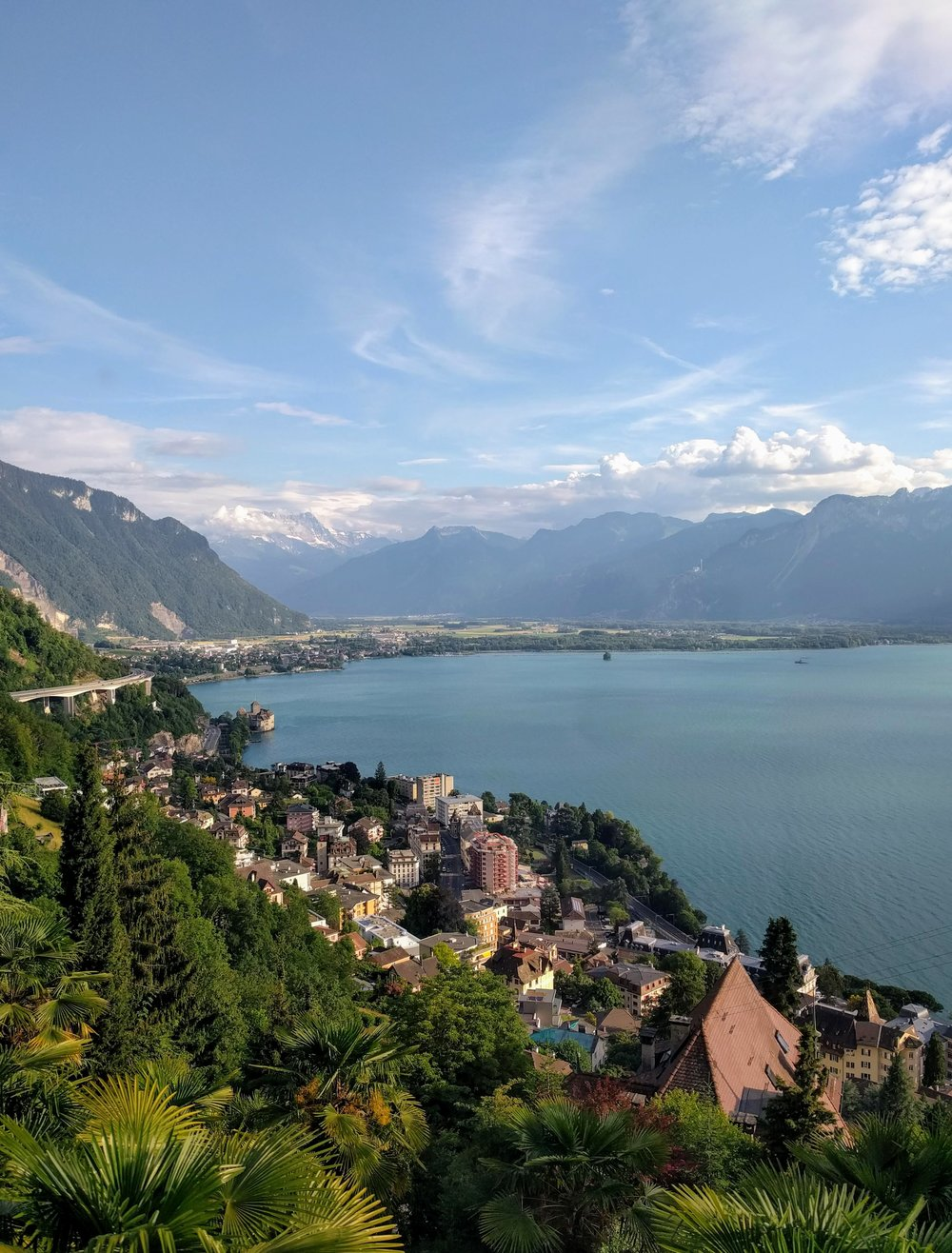 The view of Lac Léman from the cogwheel train up to Haut de Caux, where I was staying. Not bad, huh?
